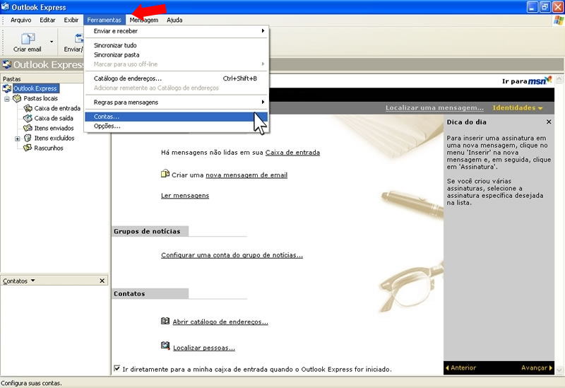mail no Outlook - contas