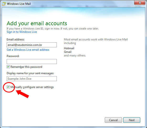 POP3 - Como Configurar o E-mail no Windows Live Mail 2012