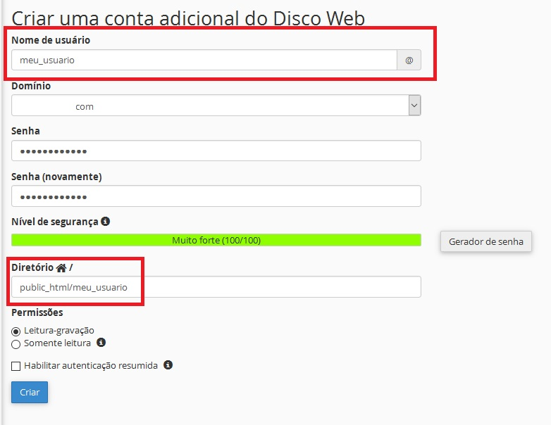 Disco Web do cPanel