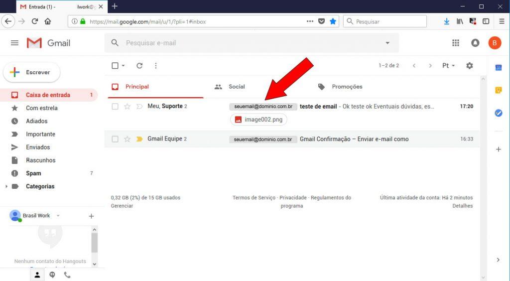 e-mail recebido