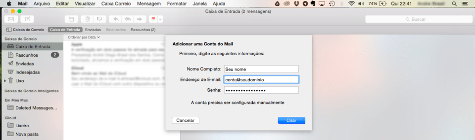 Apple Mail - adicionar conta