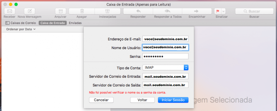 Apple Mail smtp e imap
