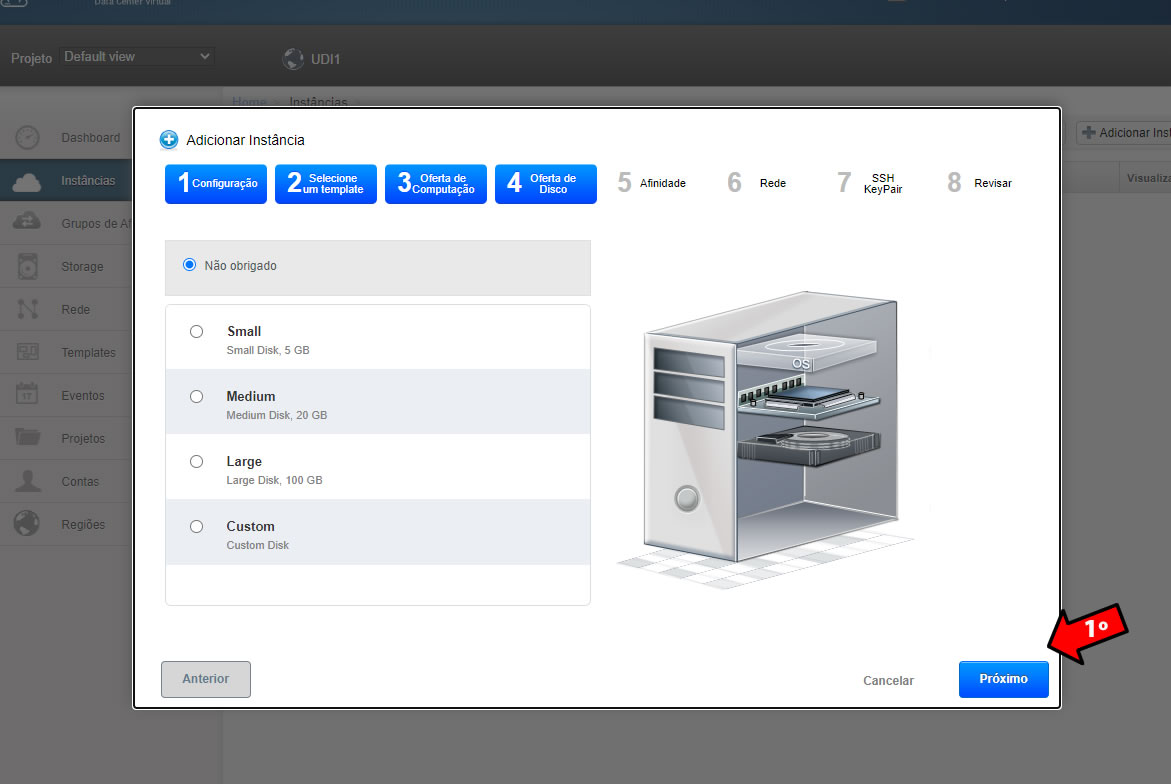 selecione o disco adicional do cloud server.