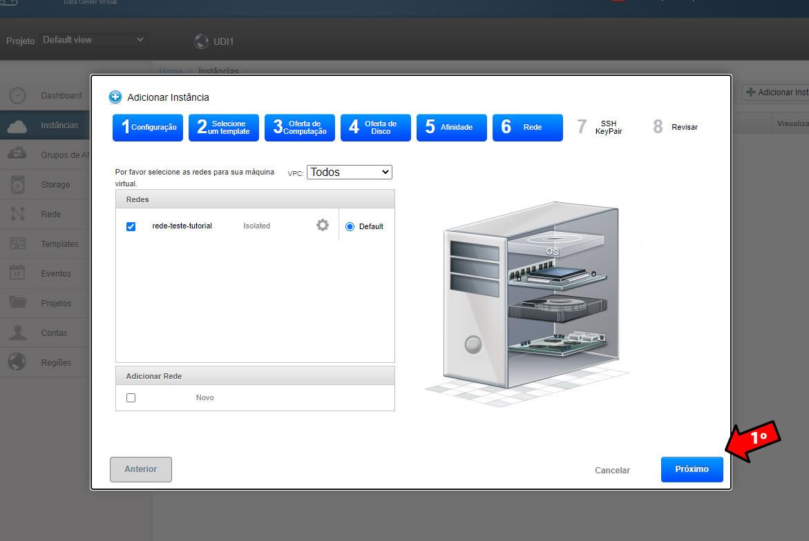 rede virtual do cloud server